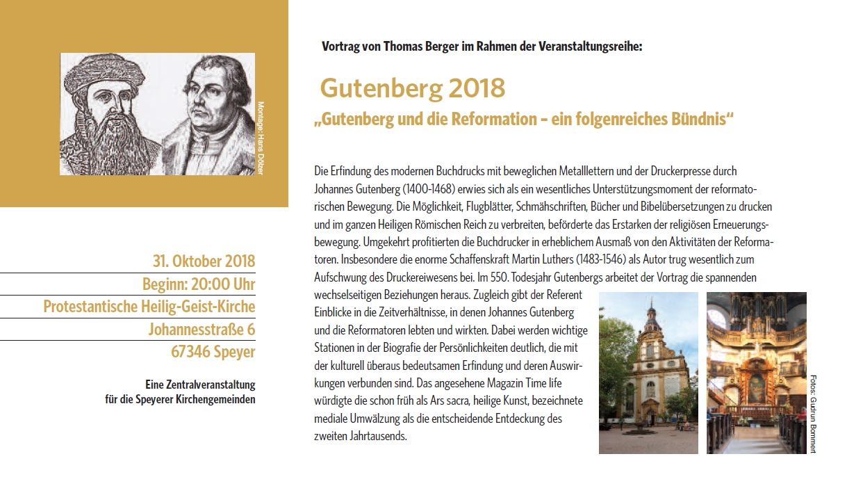 Vortrag von Thomas Berger: Gutenberg und die Reformation – ein folgenreiches Bündnis