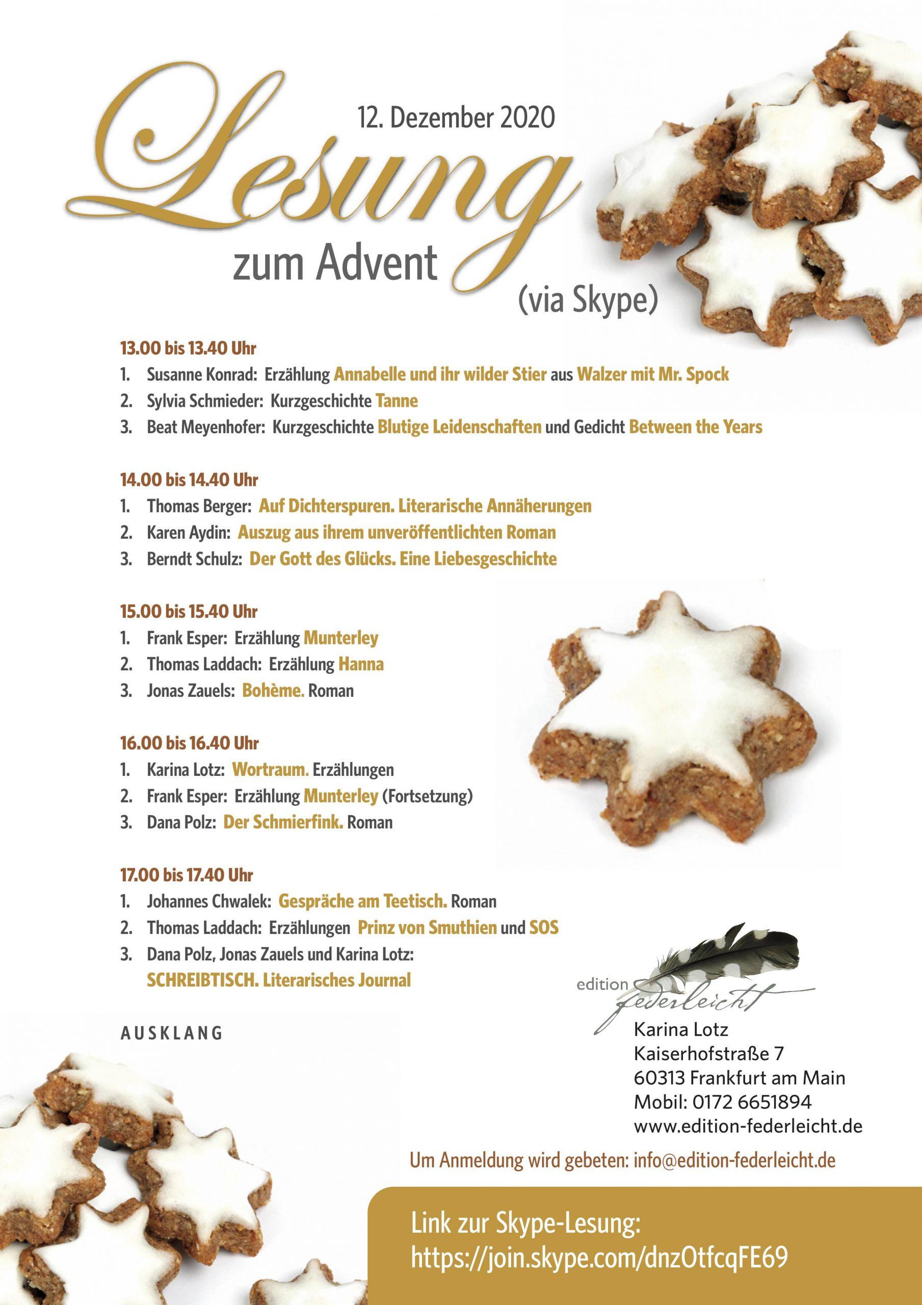 Lesung zum Advent - Zwölf Autorinnen und Autoren lesen Veröffentlichtes und Unveröffentlichtes - DIGTIAL